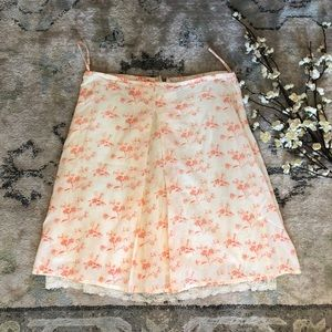 Anthropologie odille floral lace trim skirt